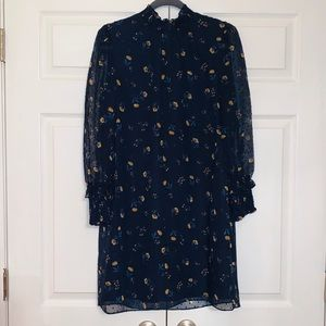 NWT Draper James navy floral smocked neck dress